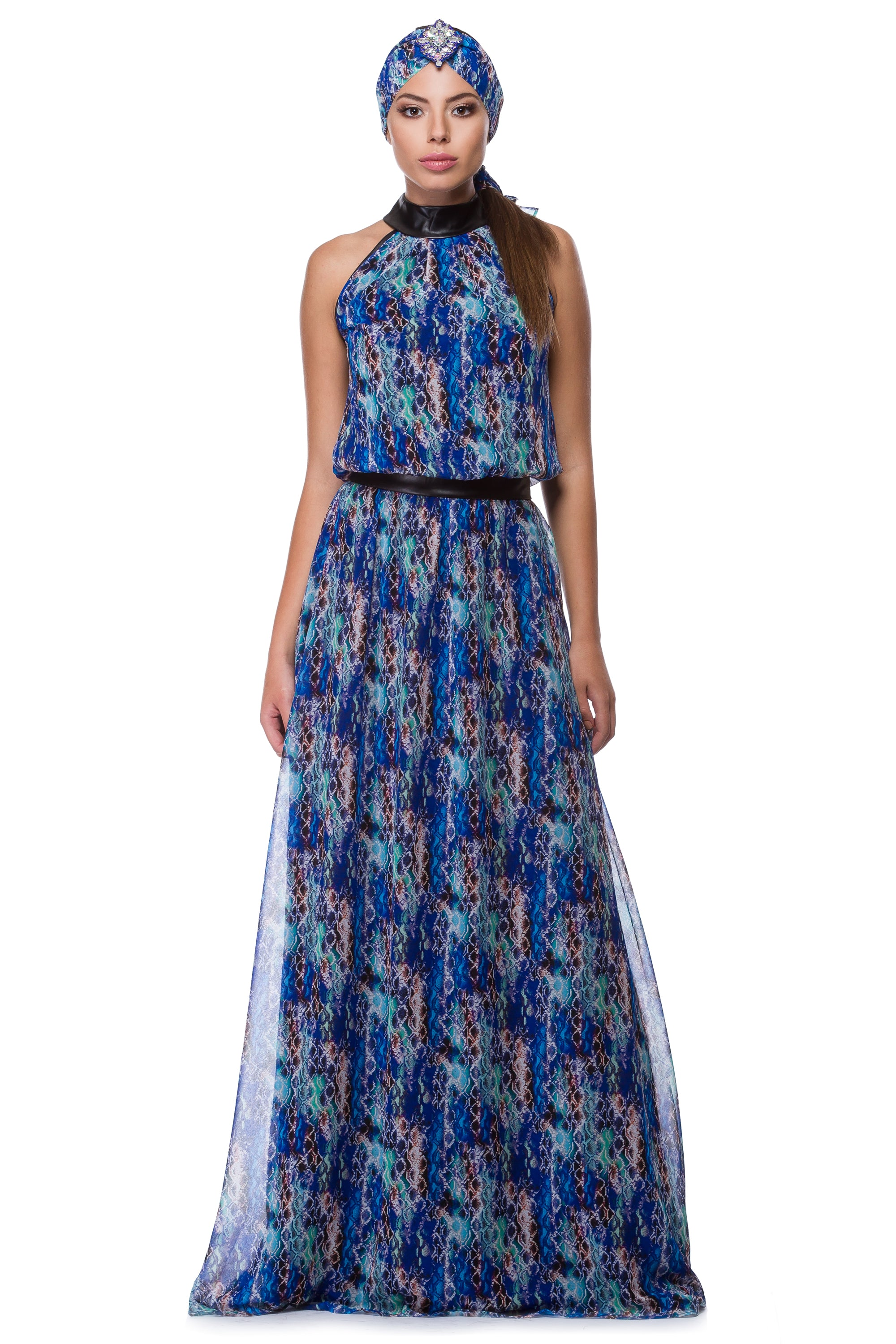 Blue chiffon dress with snake print WDR-0006