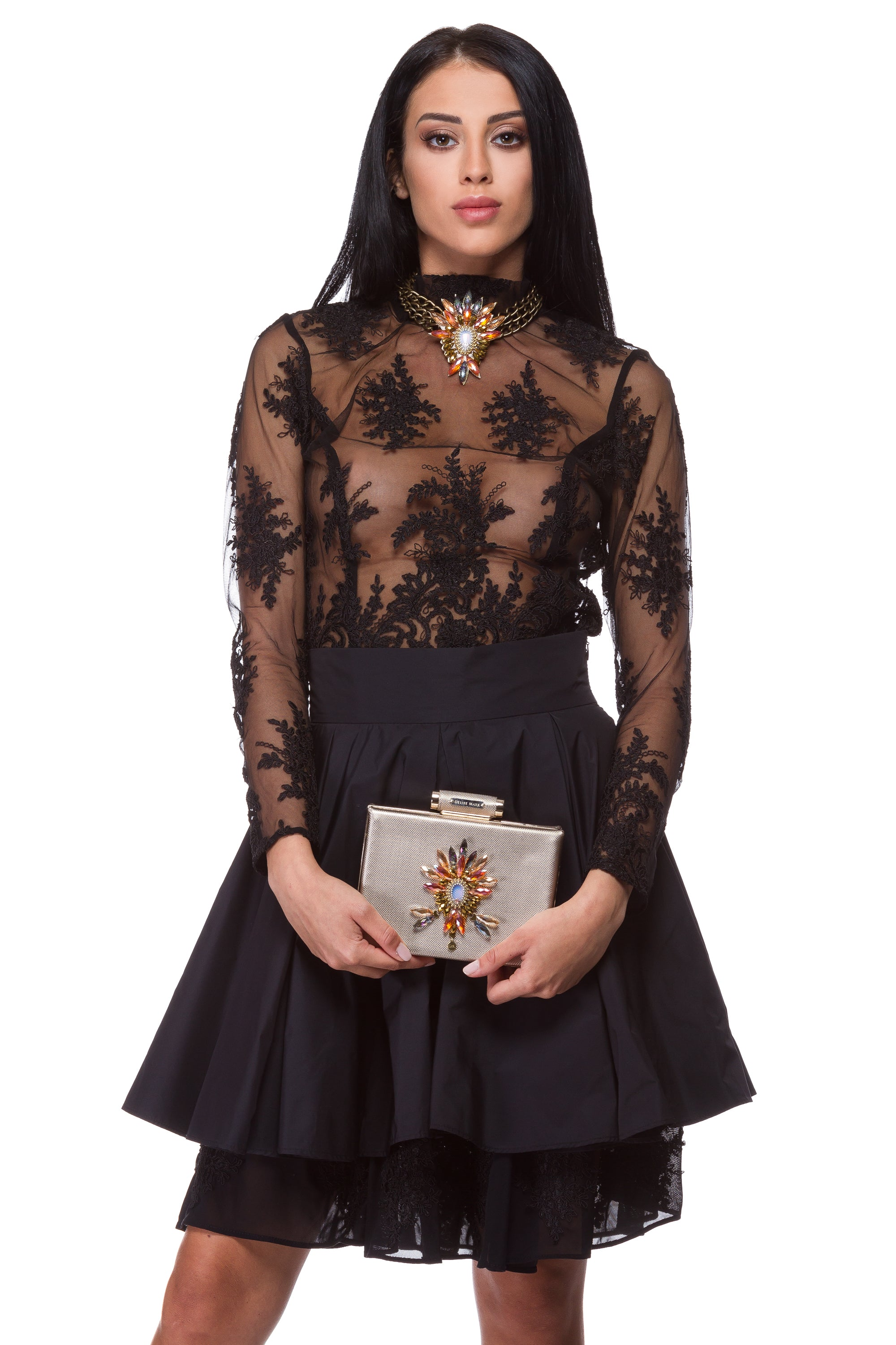 Transparent black lace blouse WBL-0003