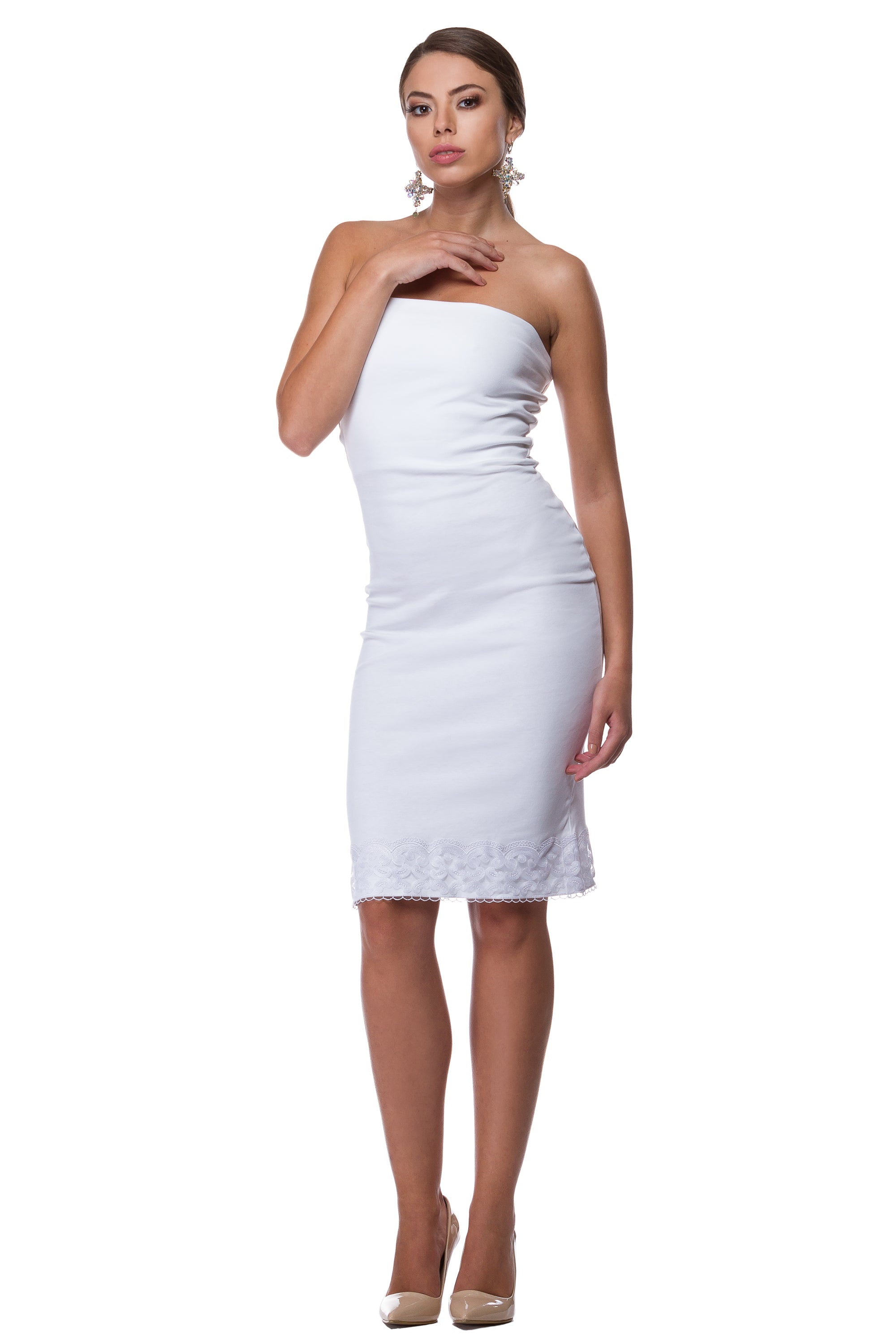 White cotton elastane dress with lace finish WDR-0011