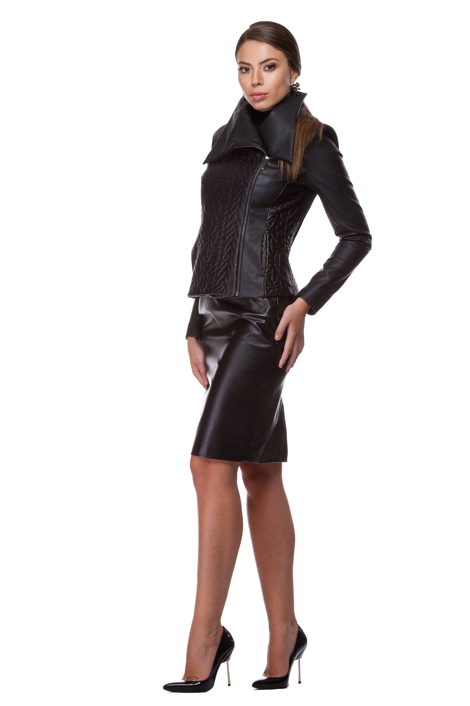 Black embossed eco-leather jacket WJK-0008
