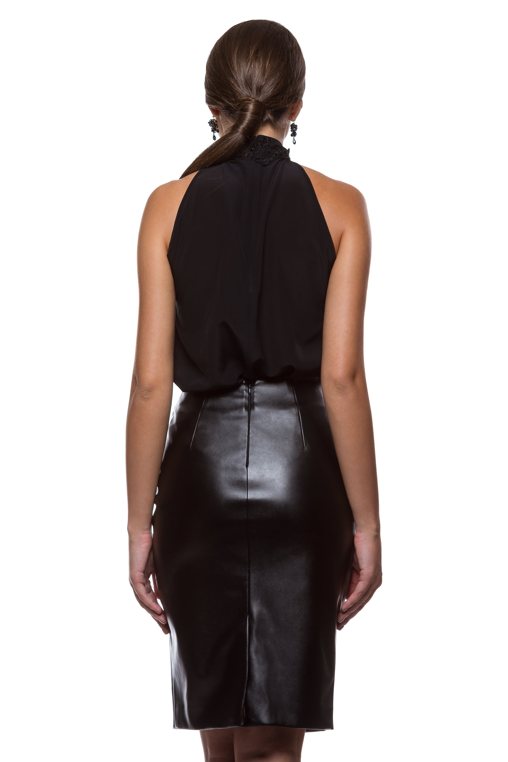 Black eco-leather pencil skirt WSK-0005