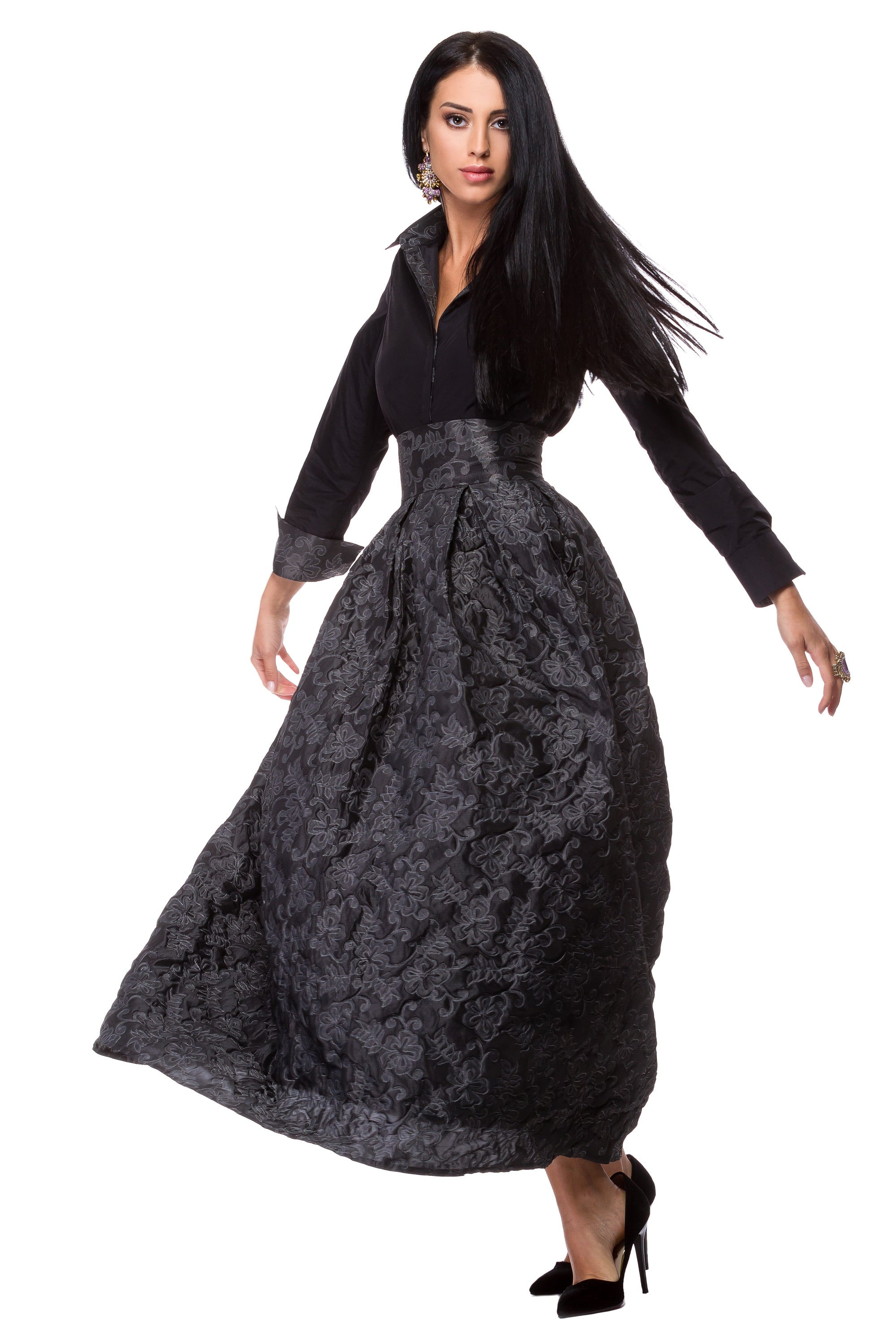 Black taffeta shirt with gray floral lining WSH-0007