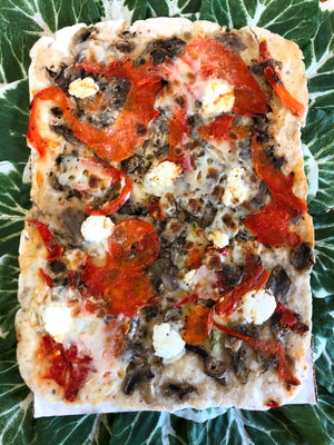 Mushroom & Red Pepper Flatbread (Vegan, GF)