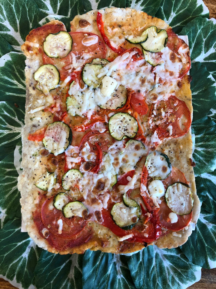 Zucchini, Red Pepper & Tomato Flatbread (Vegan, GF)