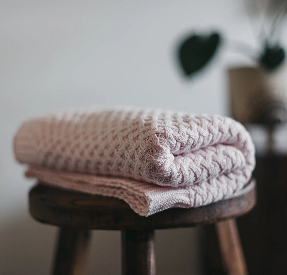 Diamond Knit Baby Blanket | Blush Pink