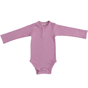 Cotton Ribbed Henley Bodysuit | Rosewood Pink