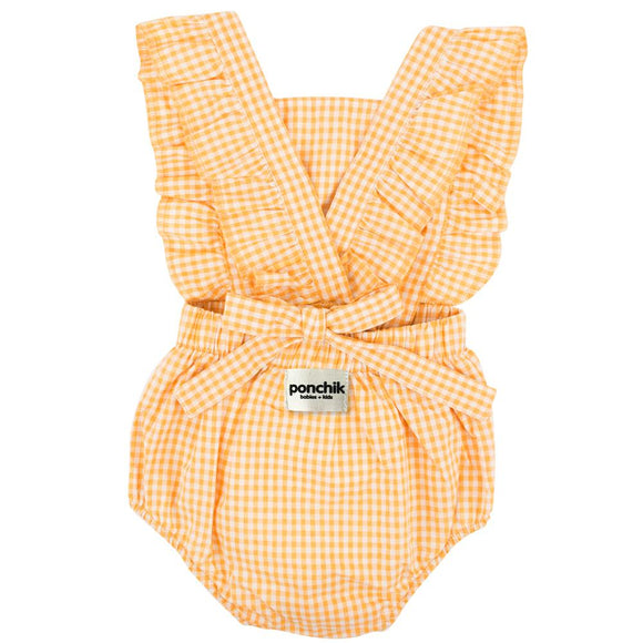 Ruffle Back Romper | Lemon Gingham