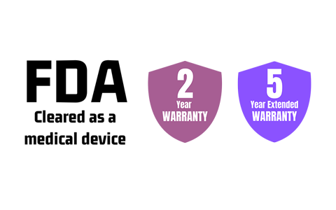 Med Air Solutions-FDA Cleared as a medical Device, 2 Year Warranty and 5 Year Extended Warranty badges