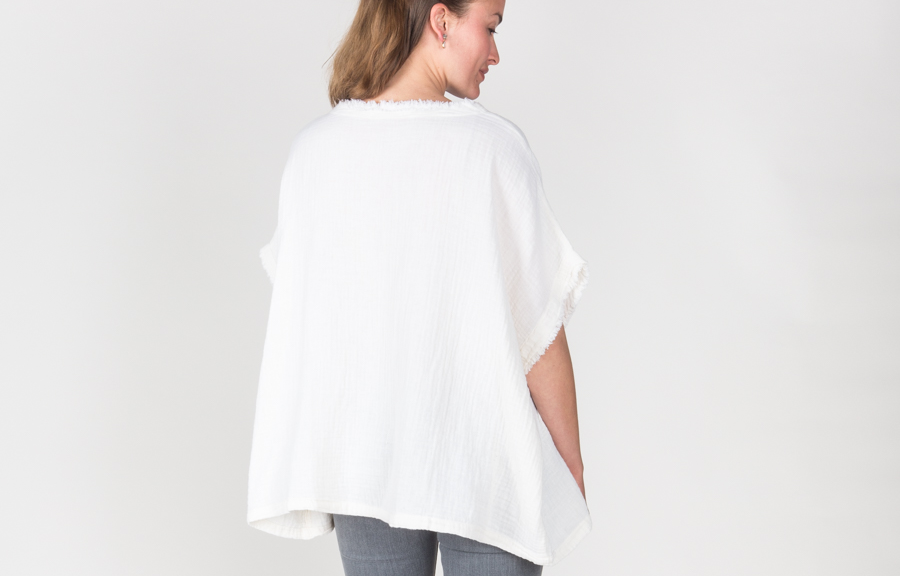 black crane double gauze square top