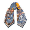 lion and tiger wool silk scarf - sapphire