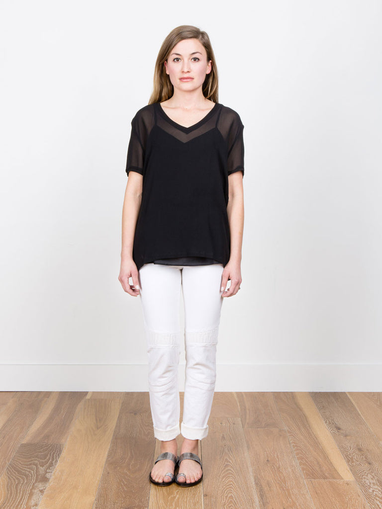 6397 Sheer Tee in Black