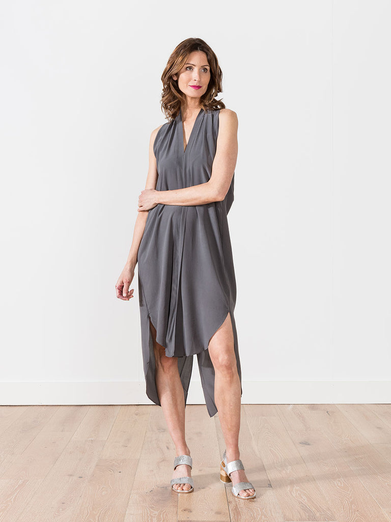 7115 By Szeki Signature Origami Dress Grey