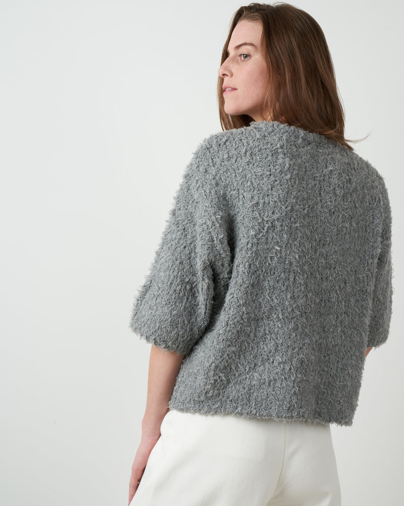 curly mid sleeve sweater - grey