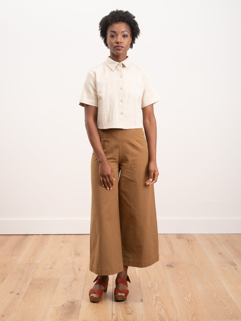 wide leg trouser - caramel