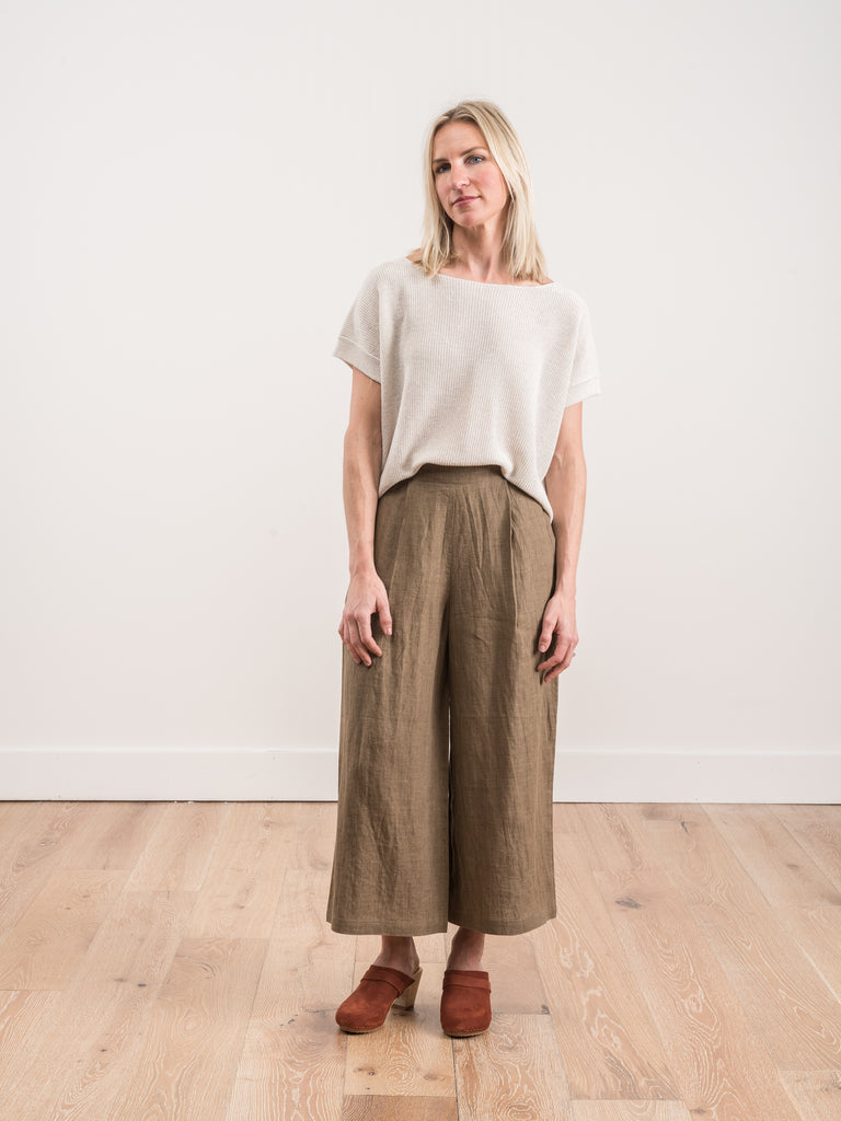 wide leg trouser - ash brown