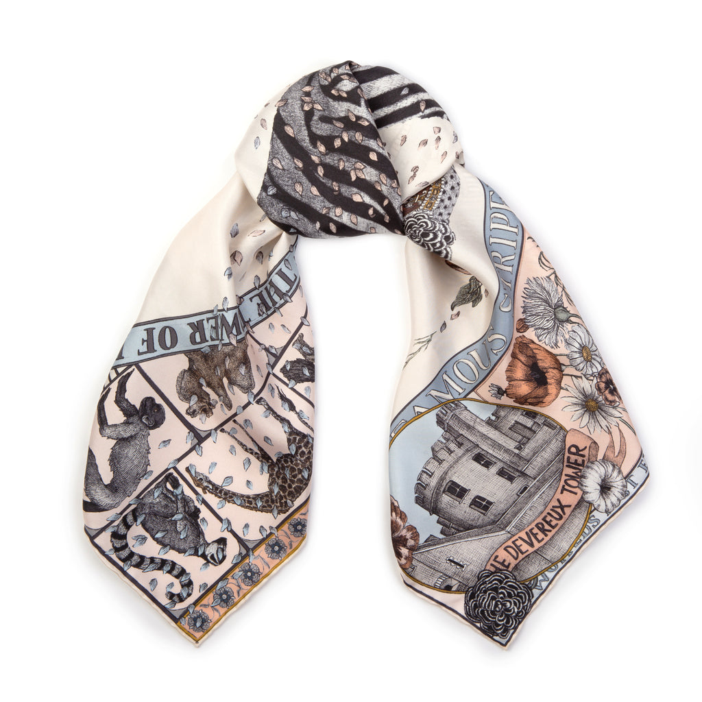 royal striped horses silk scarf - pastel