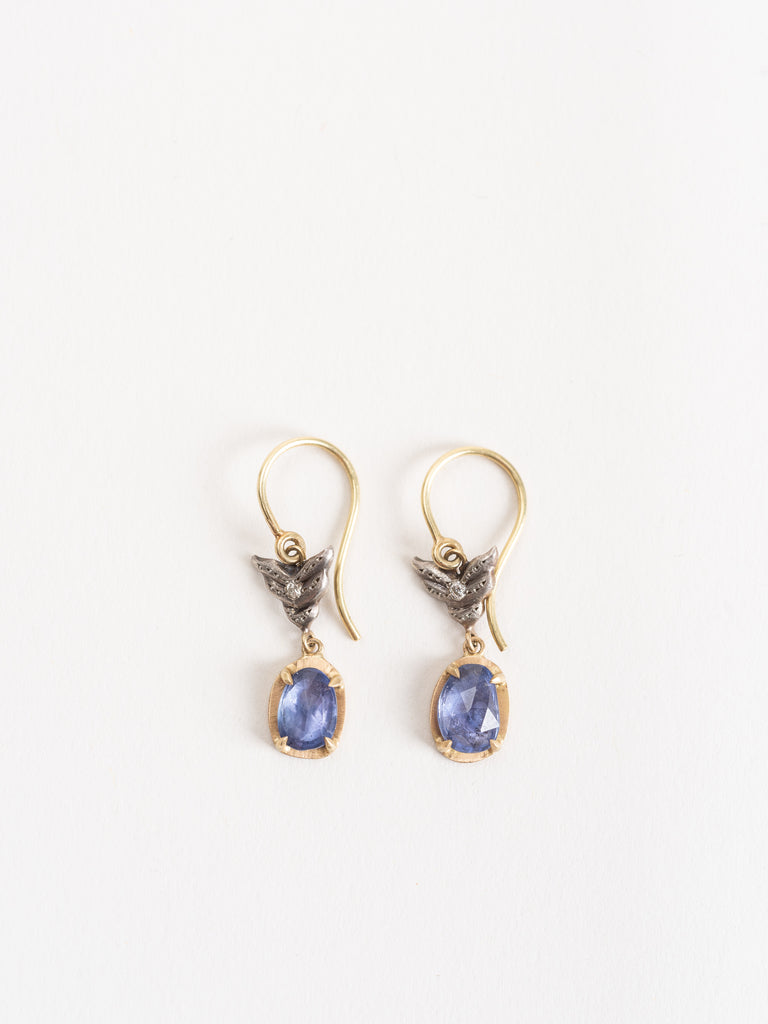 blue sapphire wing earrings