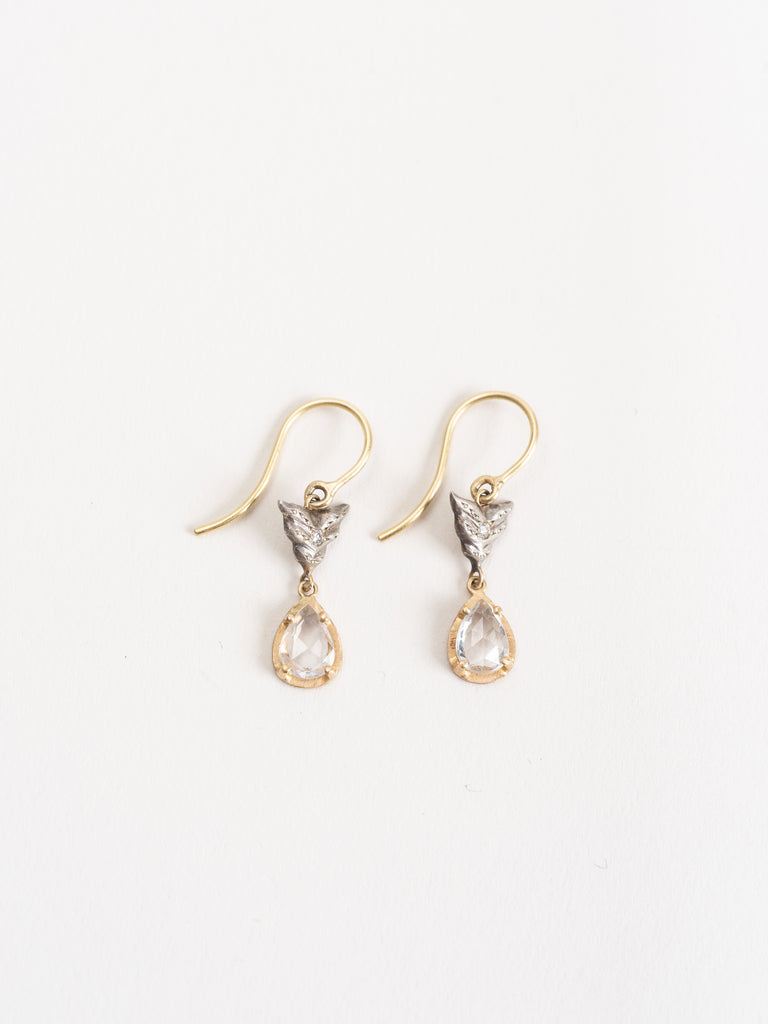 white sapphire wing earrings