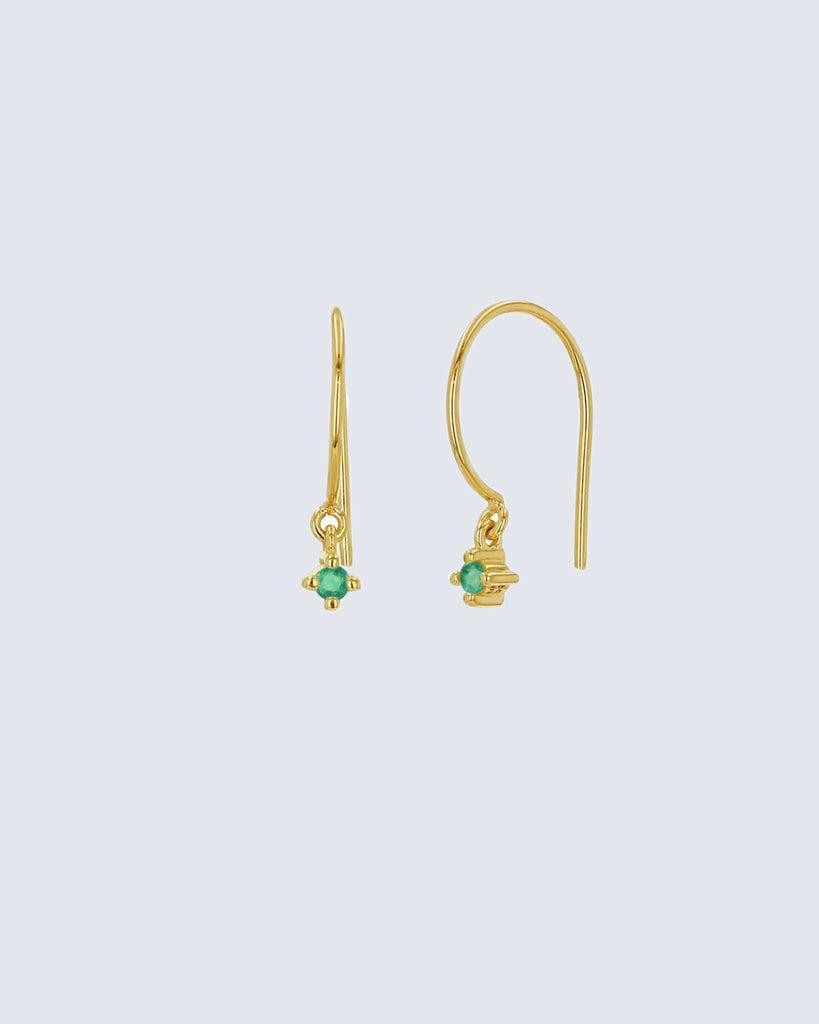 14k yellow gold emerald wire hoop earrings