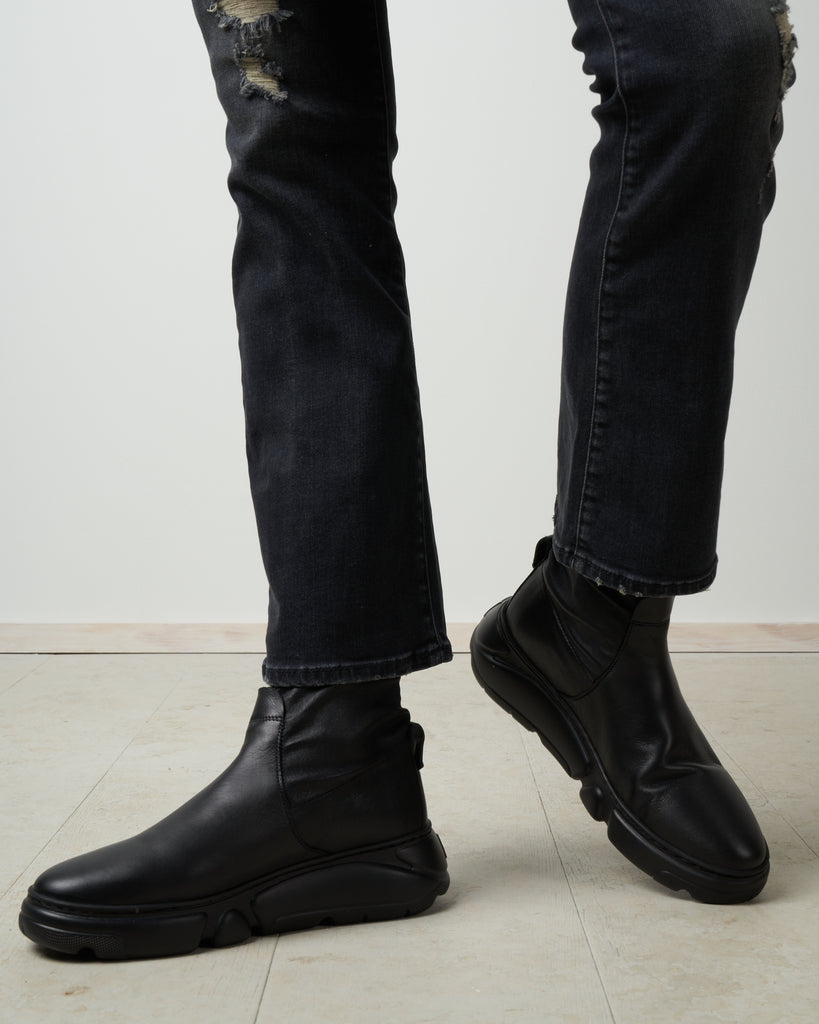 low sneaker boot - black stretch leather