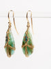 opal, petrified wood & blue diamond draped earrings