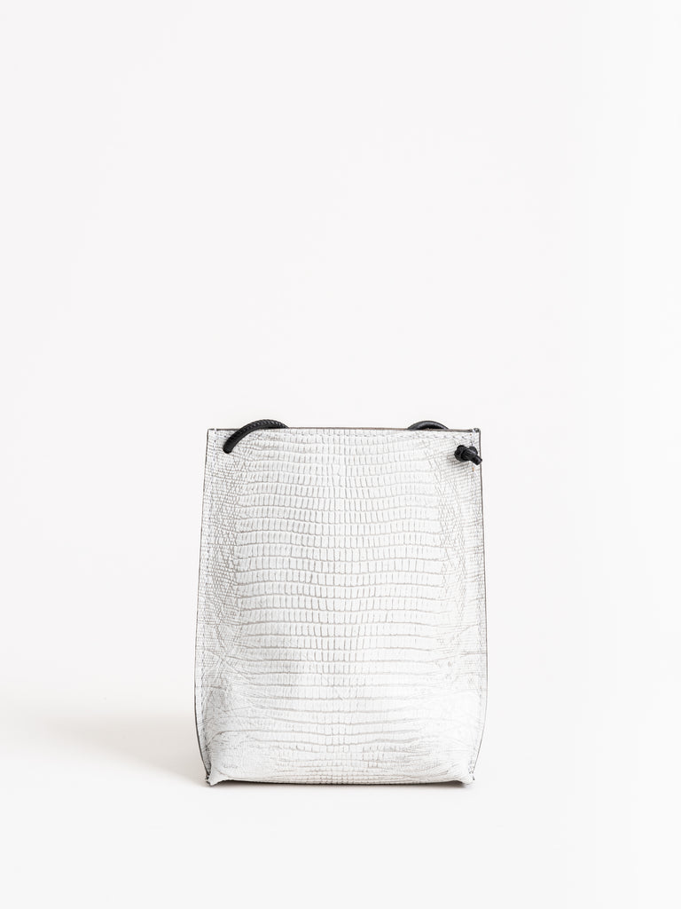 cell pouch - embossed white lizard