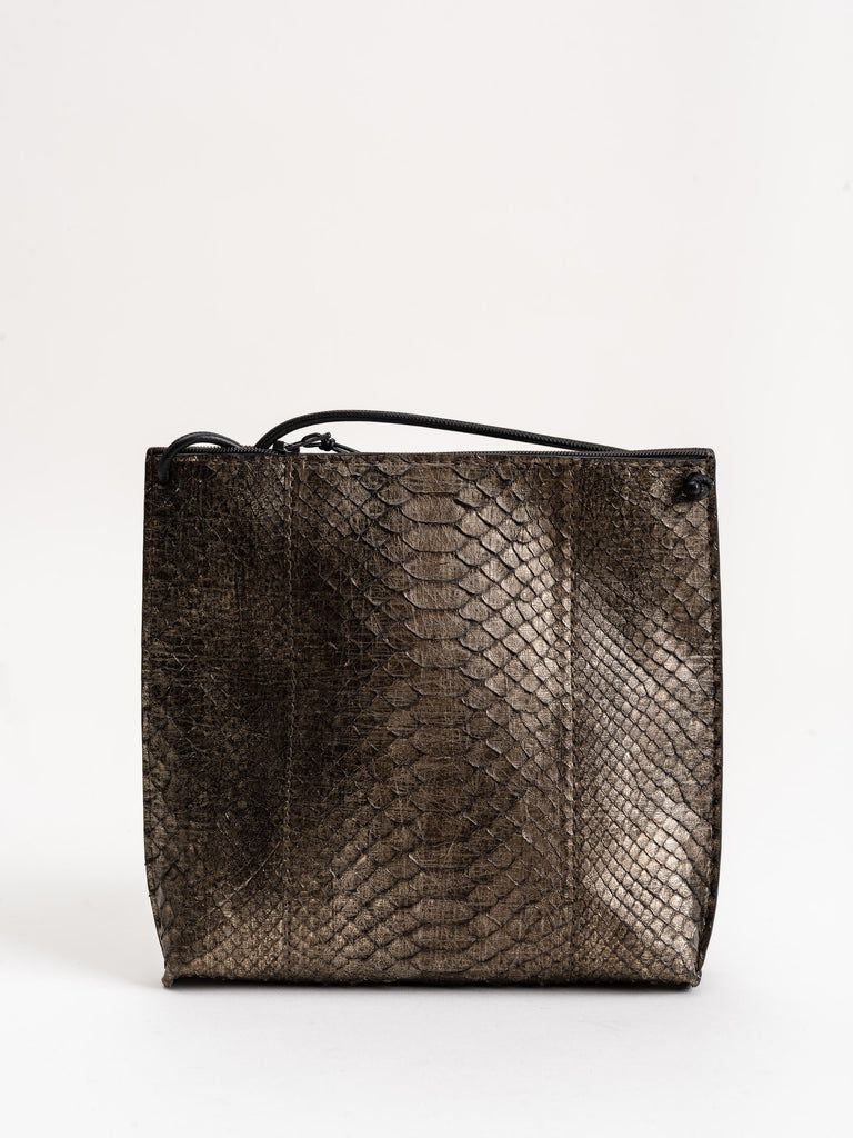 strappy pouch - distressed metal python