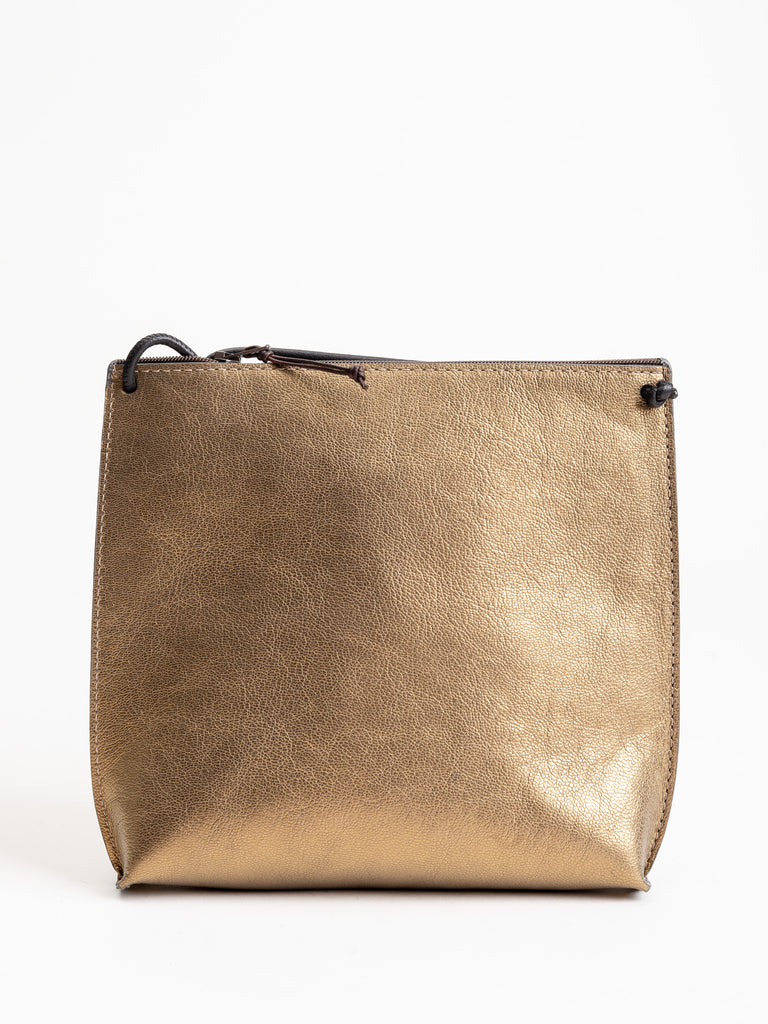 strappy pouch - gold french goat
