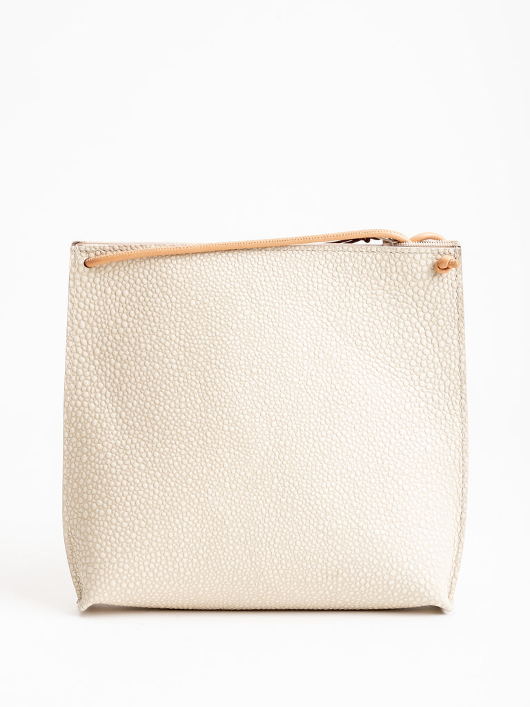 strappy pouch - ivory shagreen
