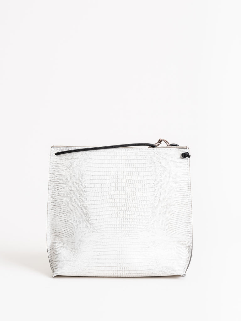 strappy pouch - white lizard