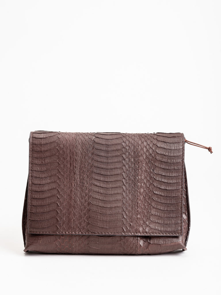 strappy foldover - dark brown whipsnake