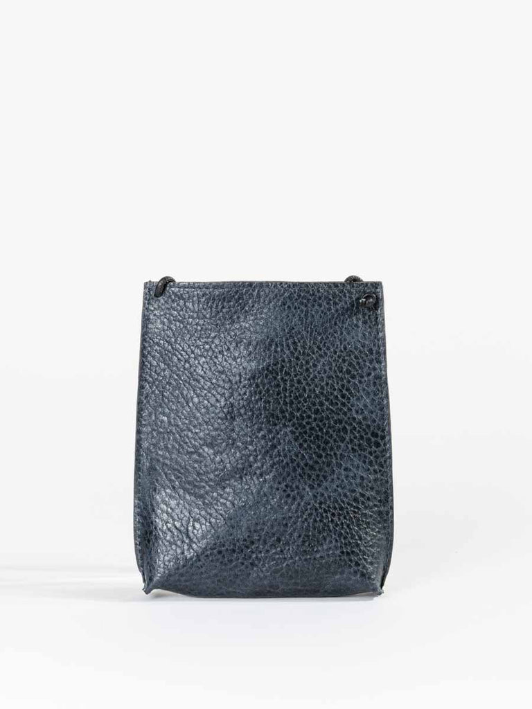 B.May Cell Pouch in Navy Grained Calf Leather