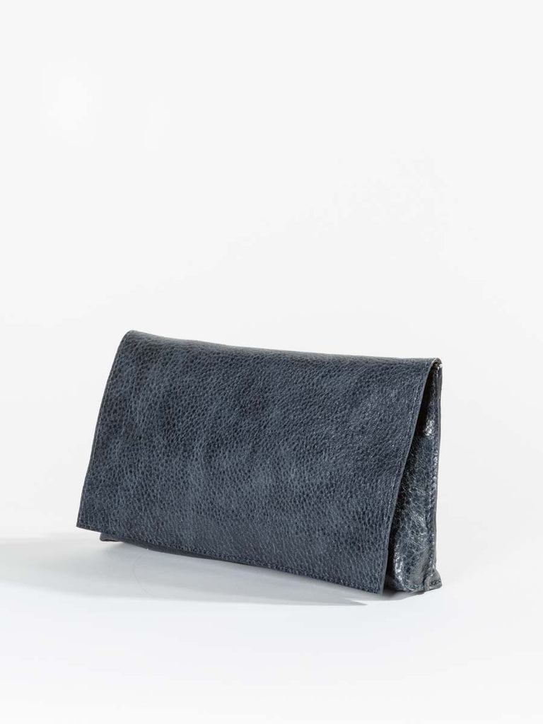 B.May Foldover Clutch in Navy Grained Calf