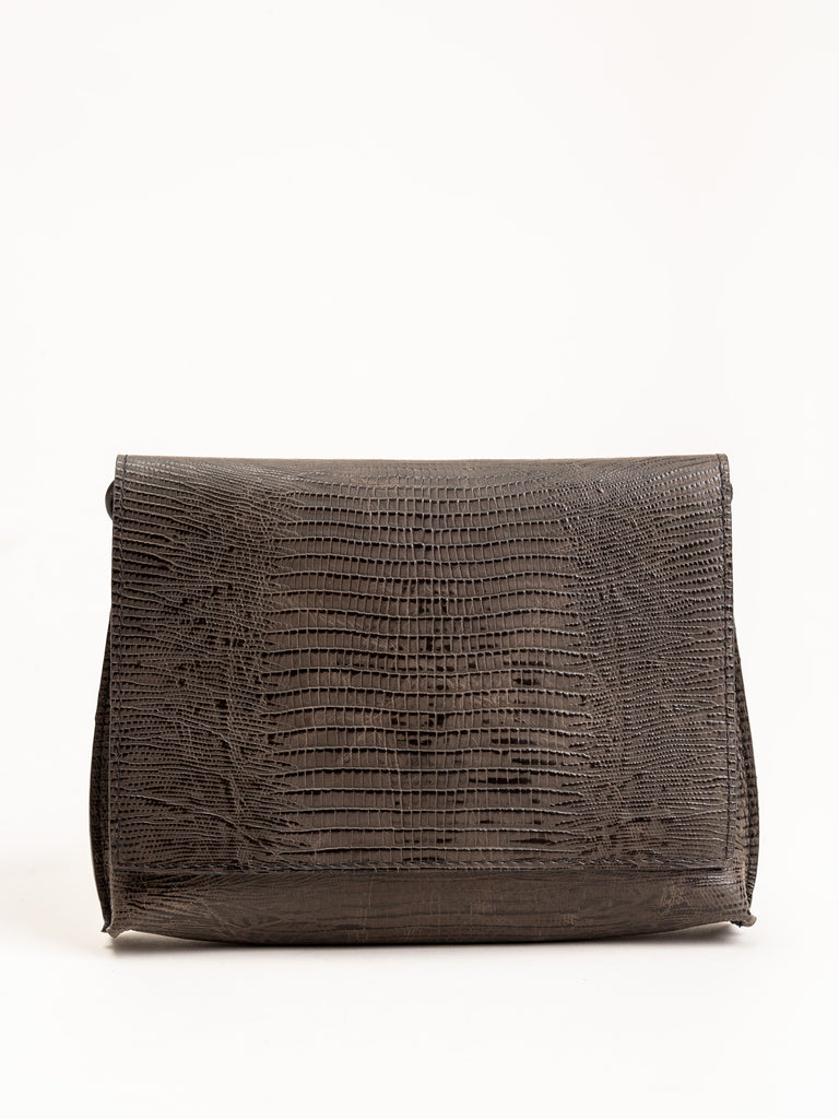 strappy foldover - brown embossed lizard