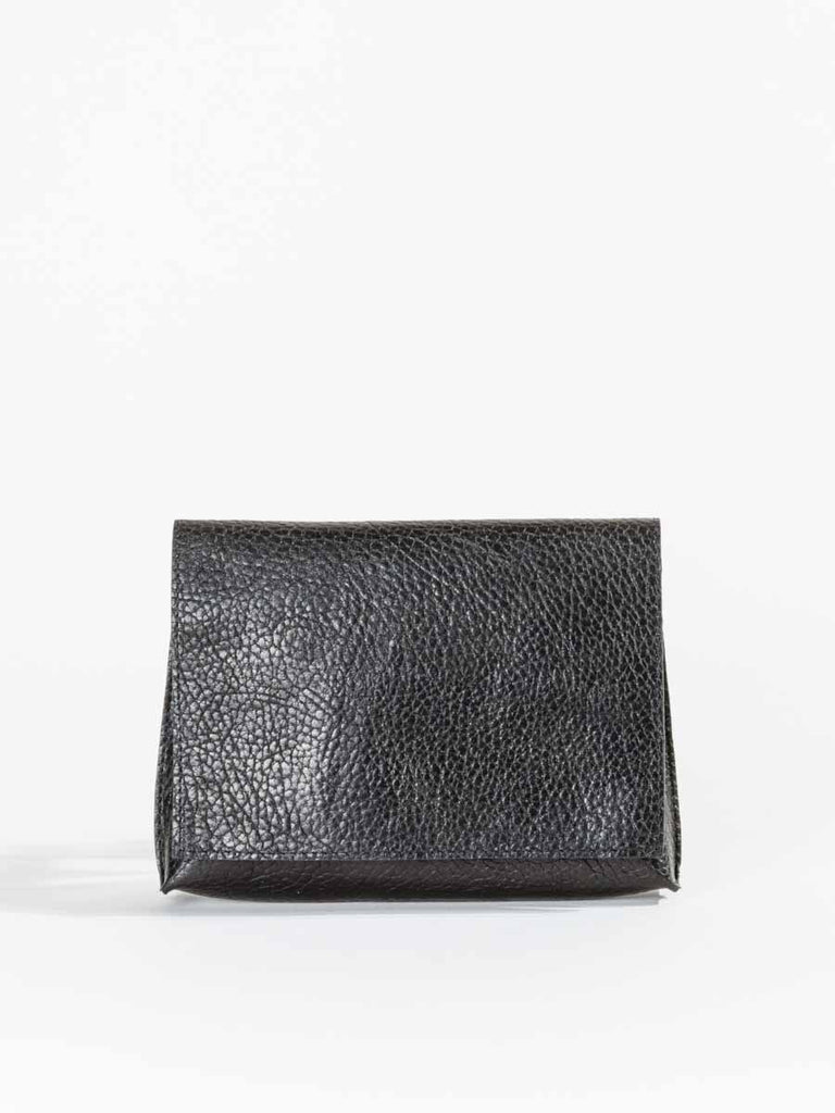 B.May Strappy Foldover Bag in Black Grained Calf Leather