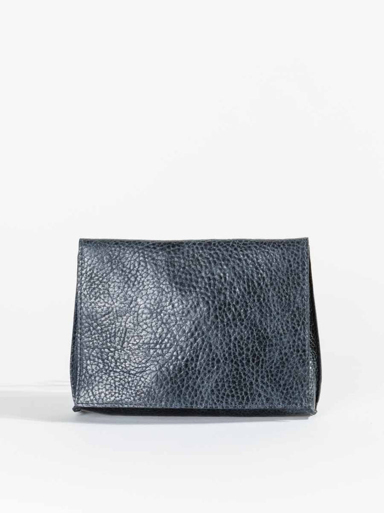 B.May Strappy Foldover Bag in Navy Grained Calf Leather