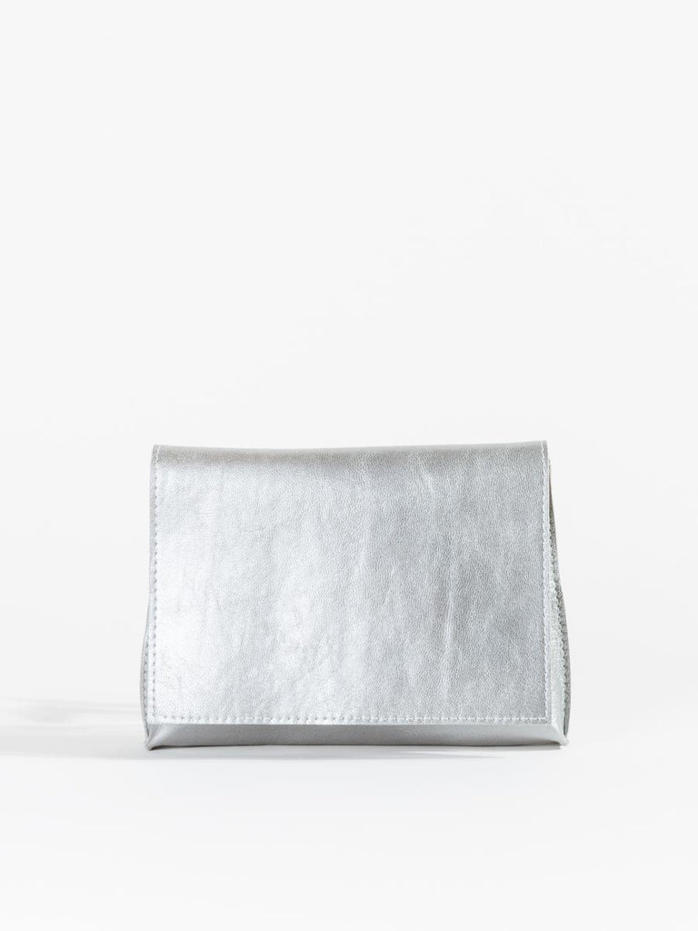 B.May Strappy Foldover Bag in Silver French Goat