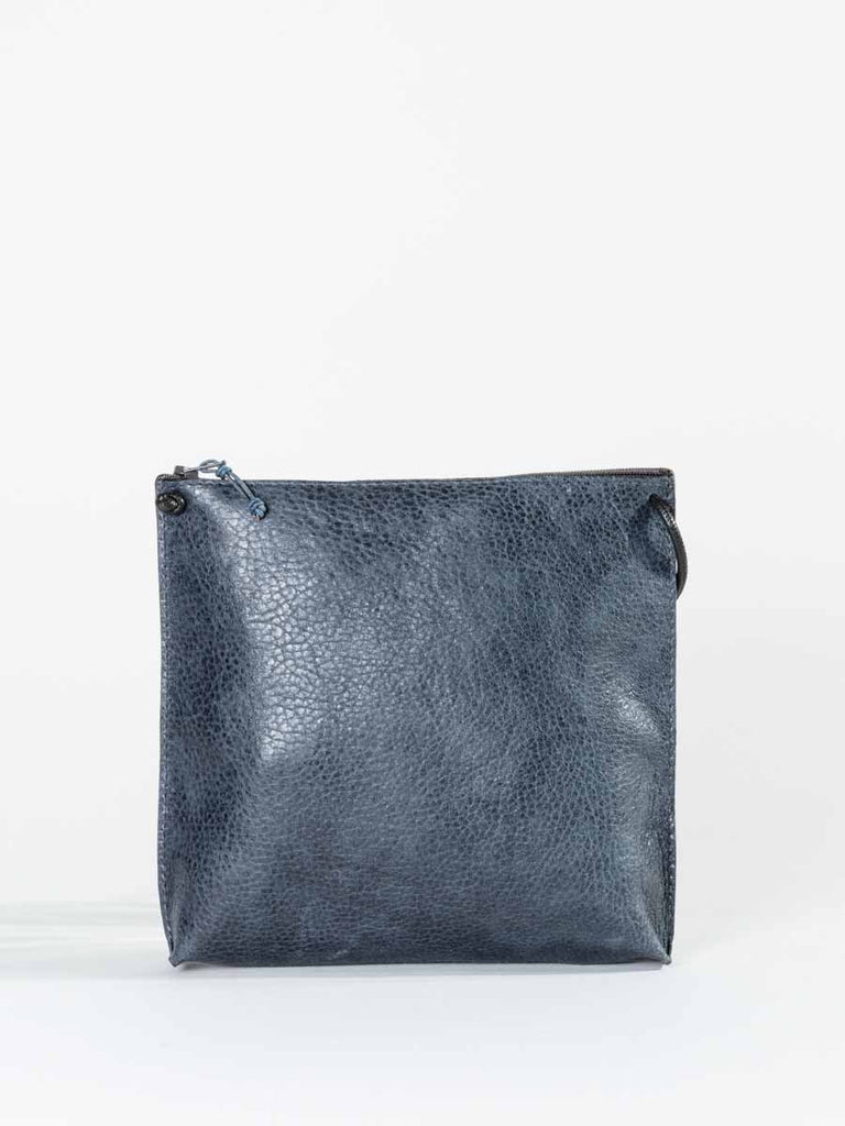 B.May Strappy Pouch in Navy Grained Calf