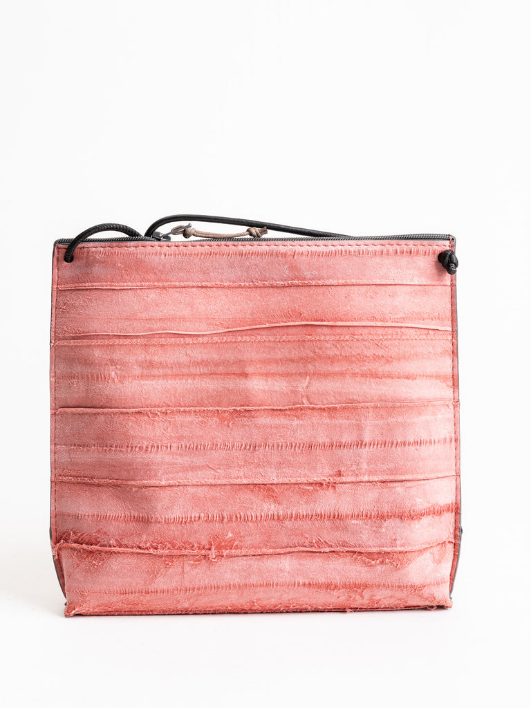 strappy pouch - pink reverse eel