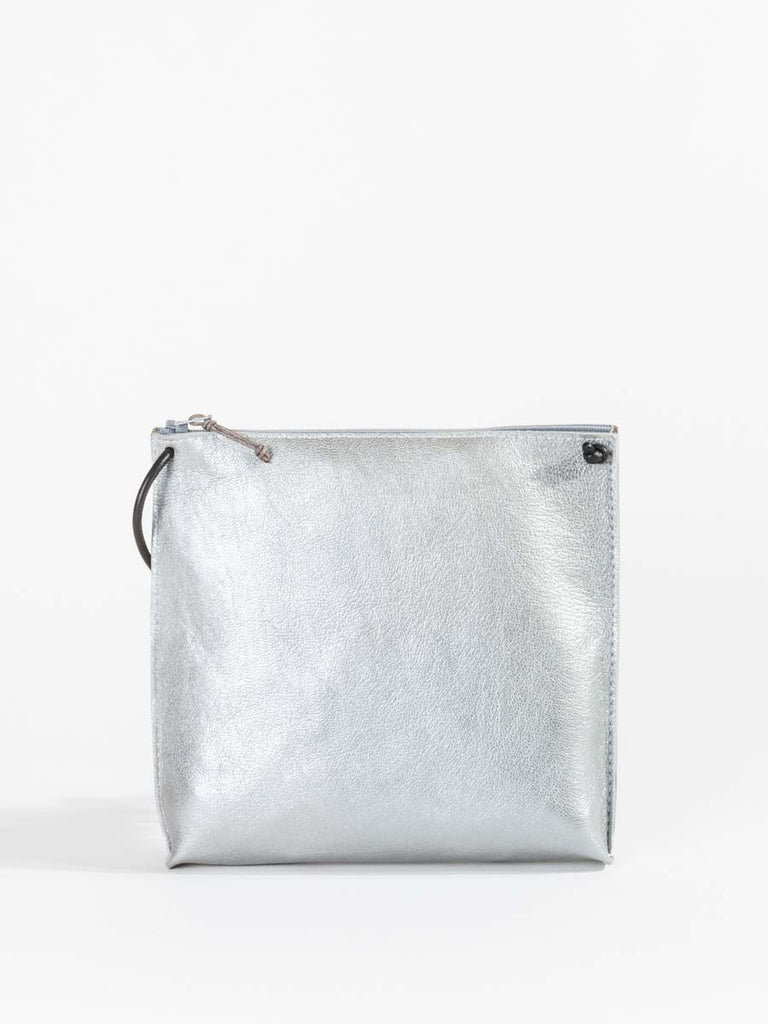 B.May Strappy Pouch in Silver French Goat