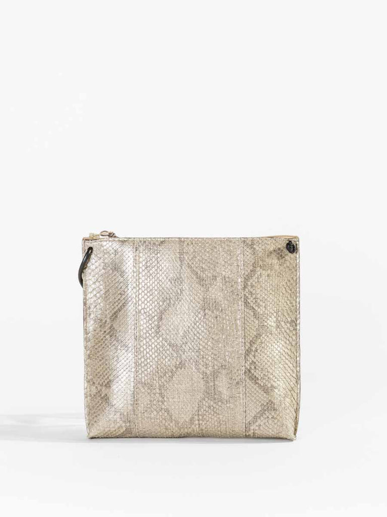 B.May Strappy Pouch in Silver Linen Python