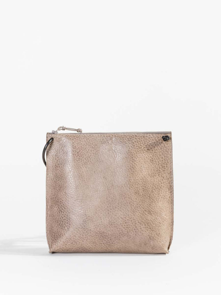 B.May Strappy Pouch in Taupe Grained Calf