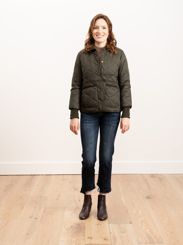 silchester quilted coat - sage