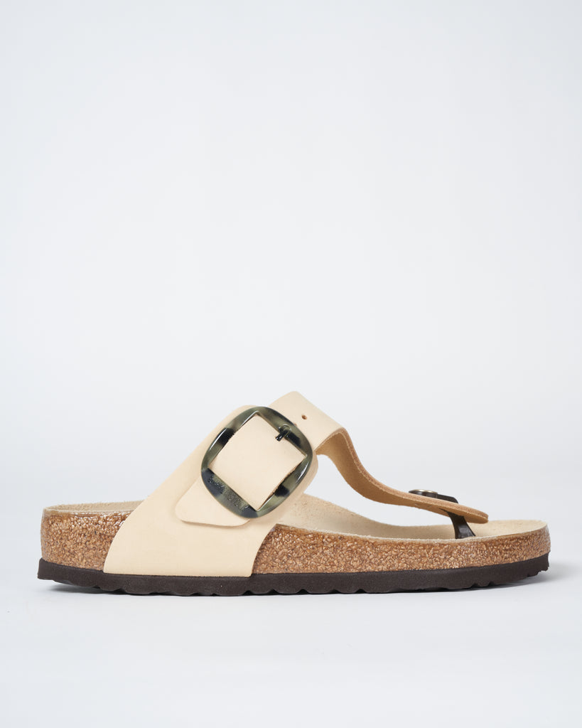 gizeh big buckle sandal - nubuck almond