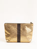 canvas striped pouch - gold/black