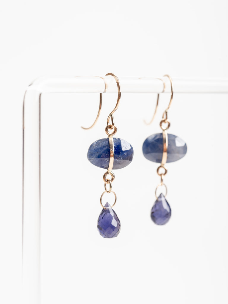blue sapphire and iolite earrings