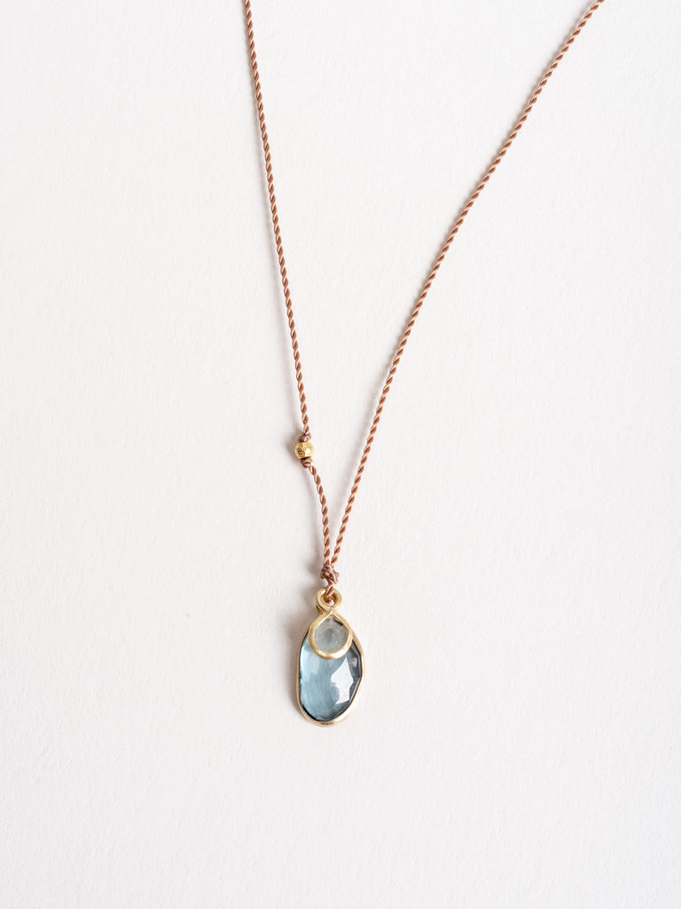 blue topaz/diamond slice necklace