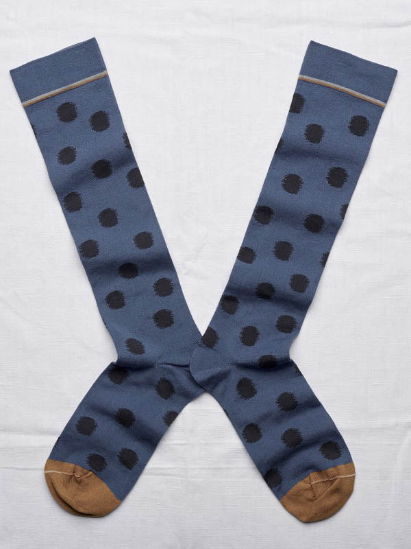 tall sock - denim polka dot
