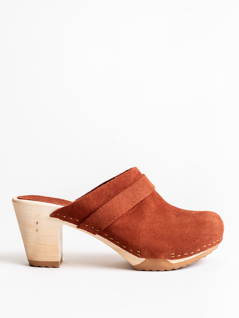 closed toe high clog - rust suede