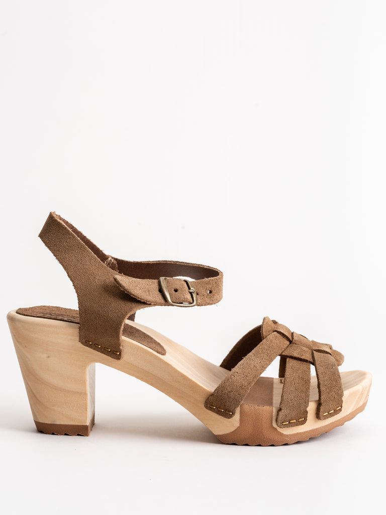 strappy high clog - tan suede